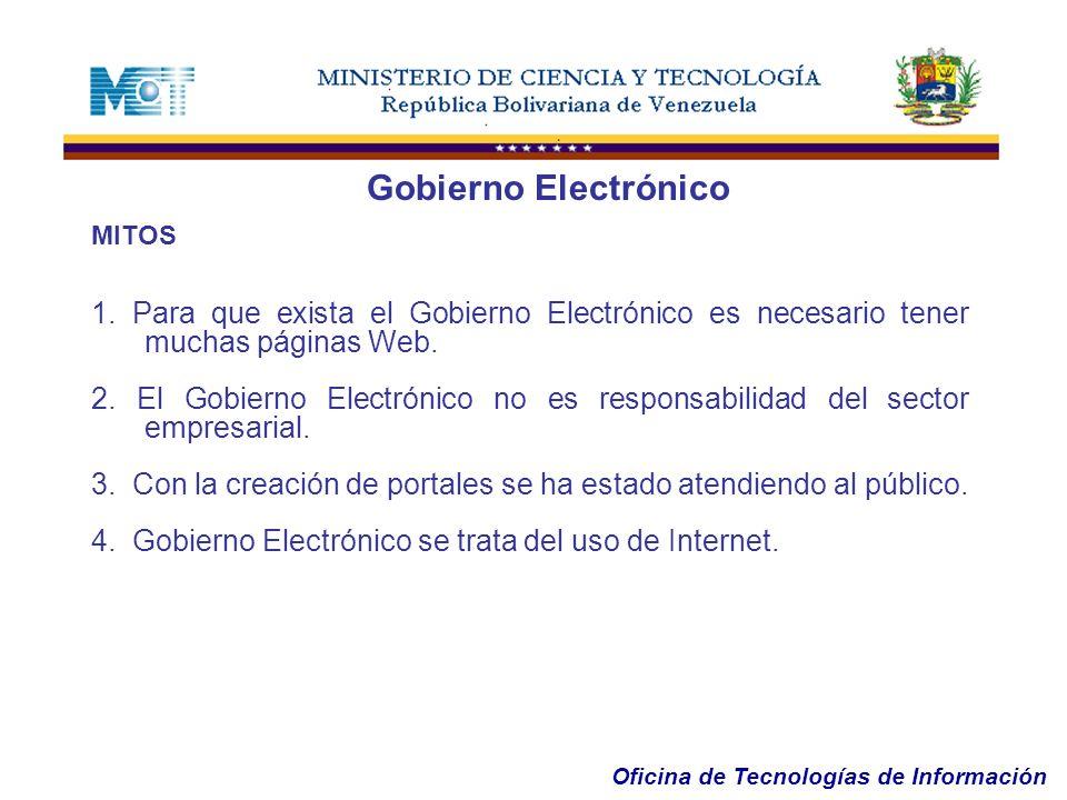 Gobierno Electrónico MITOS. 1. Para que exista el Gobierno Electrónico es necesario tener muchas páginas Web.