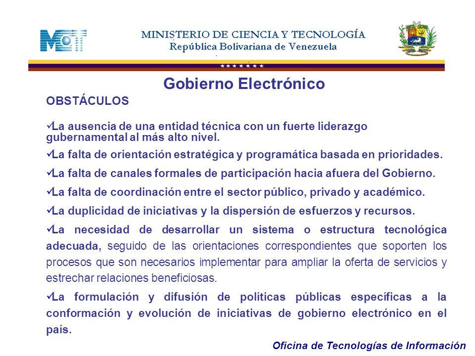 Gobierno Electrónico OBSTÁCULOS