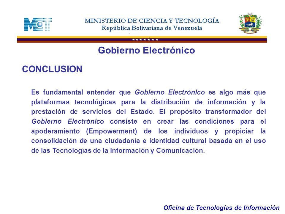 Gobierno Electrónico CONCLUSION