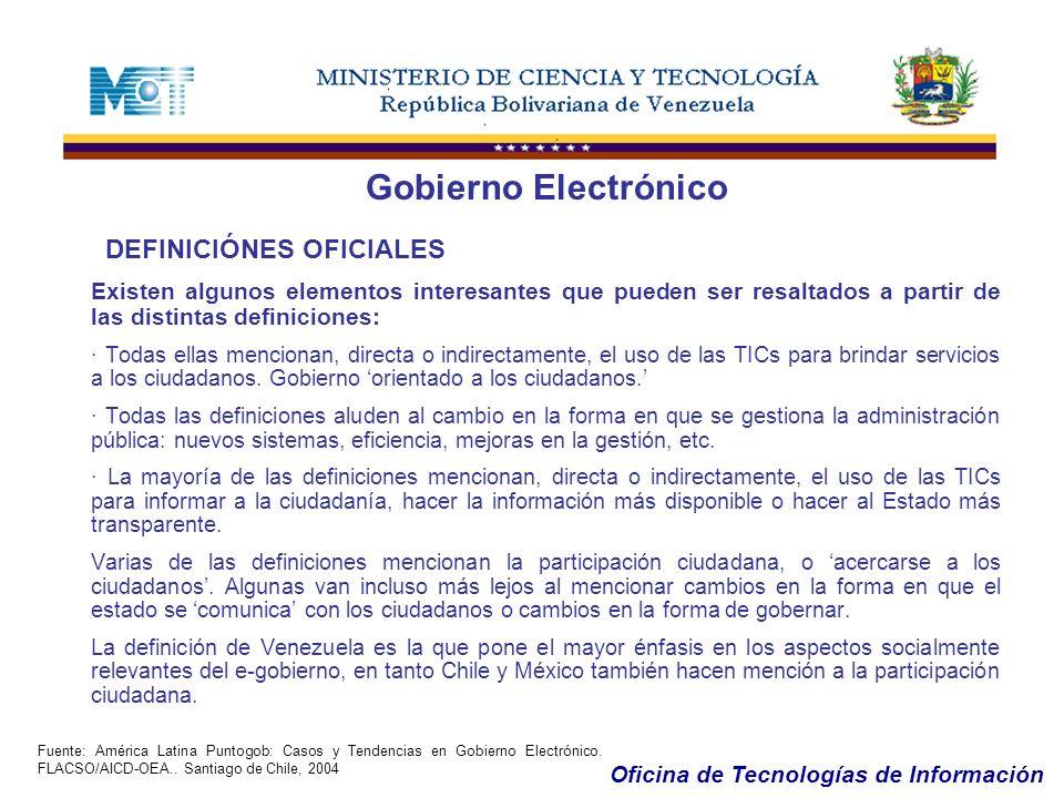 Gobierno Electrónico DEFINICIÓNES OFICIALES