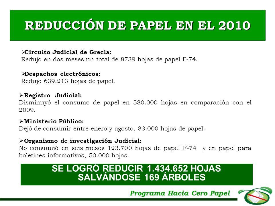 REDUCCIÓN DE PAPEL EN EL 2010