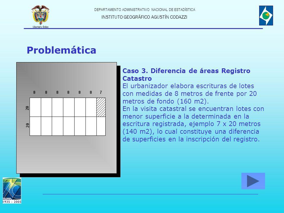 Problemática Caso 3. Diferencia de áreas Registro Catastro