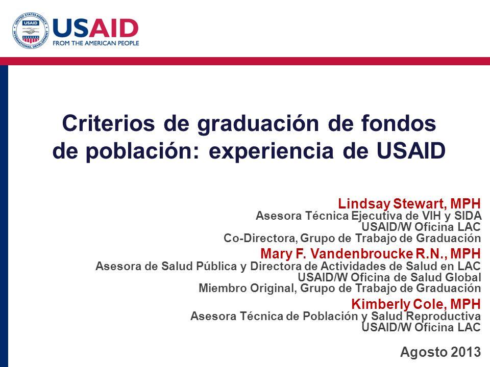 Criterios de graduación de fondos de población: experiencia de USAID