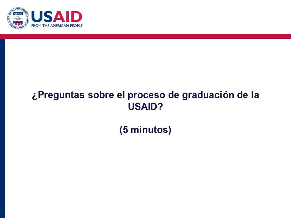 ¿Preguntas sobre el proceso de graduación de la USAID (5 minutos)
