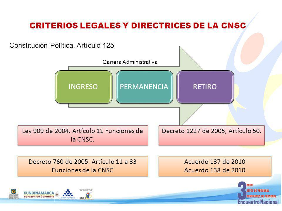 CRITERIOS LEGALES Y DIRECTRICES DE LA CNSC