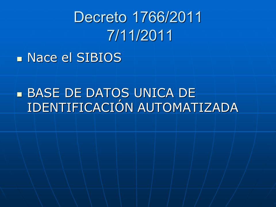Decreto 1766/2011 7/11/2011 Nace el SIBIOS
