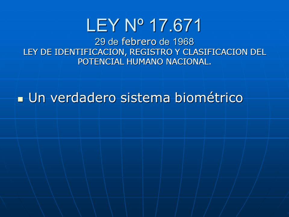 LEY Nº 17.671 29 de febrero de 1968 LEY DE IDENTIFICACION, REGISTRO Y CLASIFICACION DEL POTENCIAL HUMANO NACIONAL.