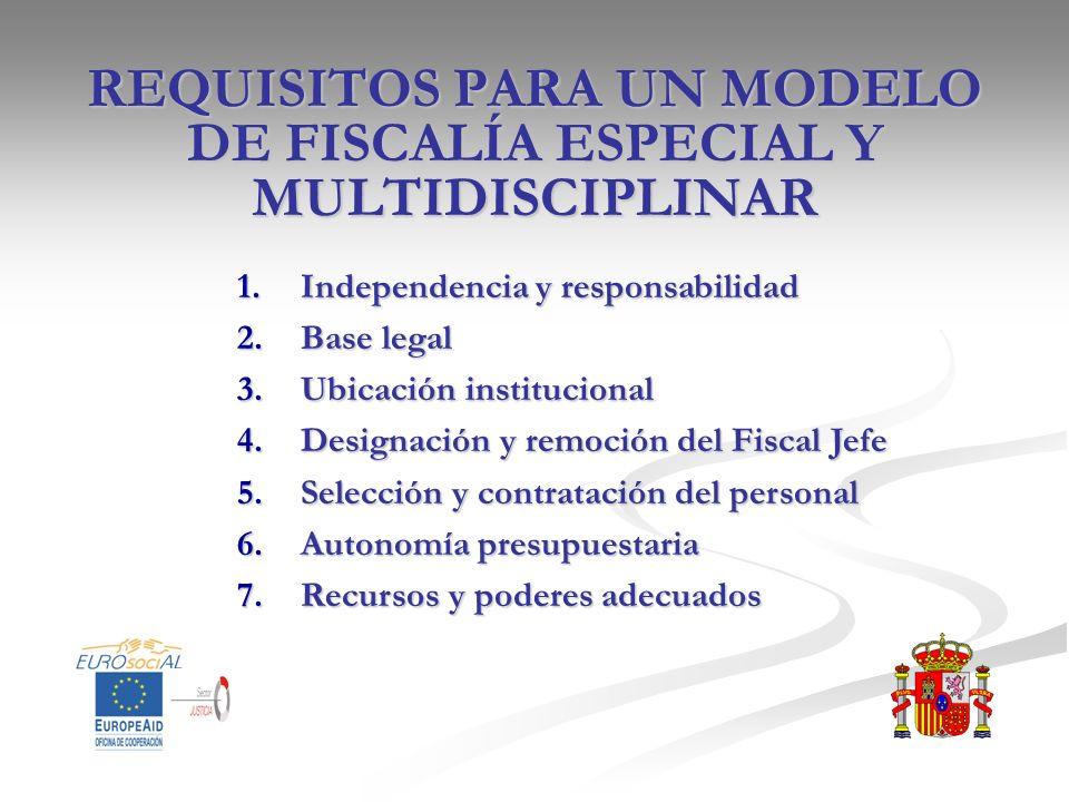 REQUISITOS PARA UN MODELO DE FISCALÍA ESPECIAL Y MULTIDISCIPLINAR