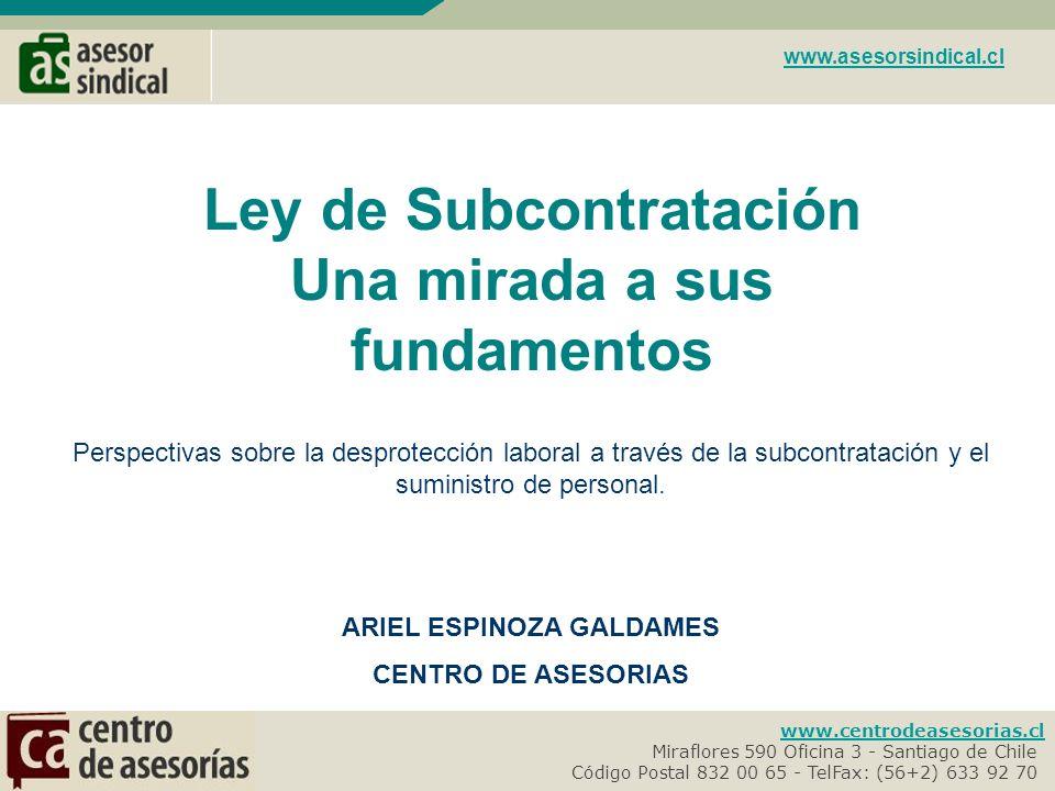 Ley de Subcontratación Una mirada a sus fundamentos
