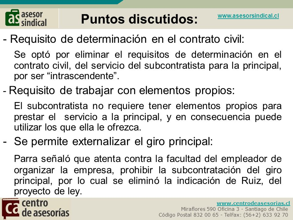 Puntos discutidos: www.asesorsindical.cl. - Requisito de determinación en el contrato civil: