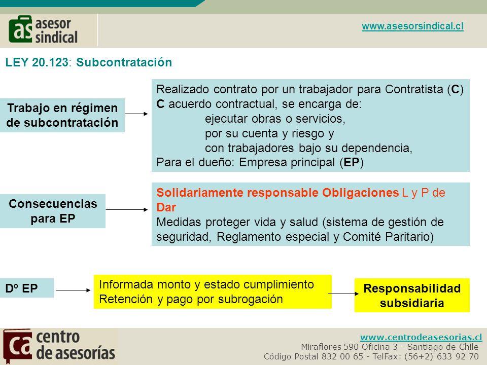 Trabajo en régimen de subcontratación Responsabilidad subsidiaria