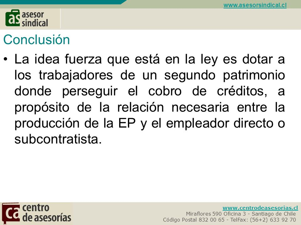 www.asesorsindical.cl Conclusión.