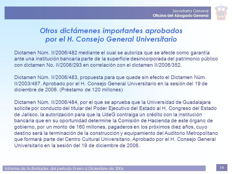Secretaría General Oficina del Abogado General. Otros dictámenes importantes aprobados por el H. Consejo General Universitario.