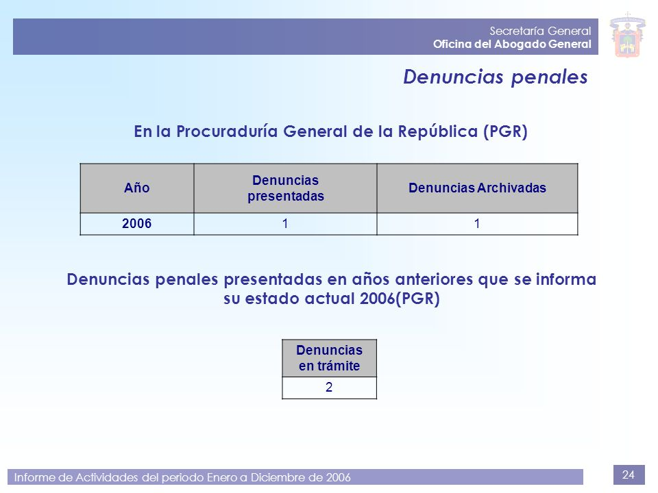 En la Procuraduría General de la República (PGR)