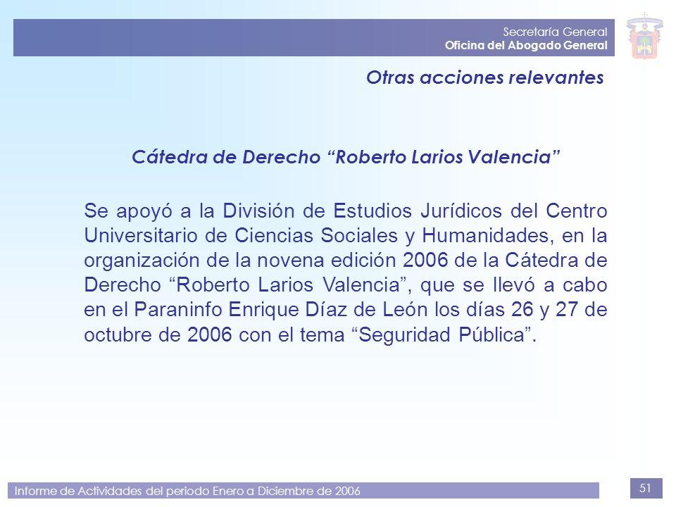 Secretaría General Oficina del Abogado General. Otras acciones relevantes. Cátedra de Derecho Roberto Larios Valencia