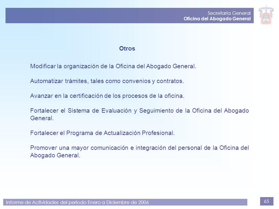 Modificar la organización de la Oficina del Abogado General.