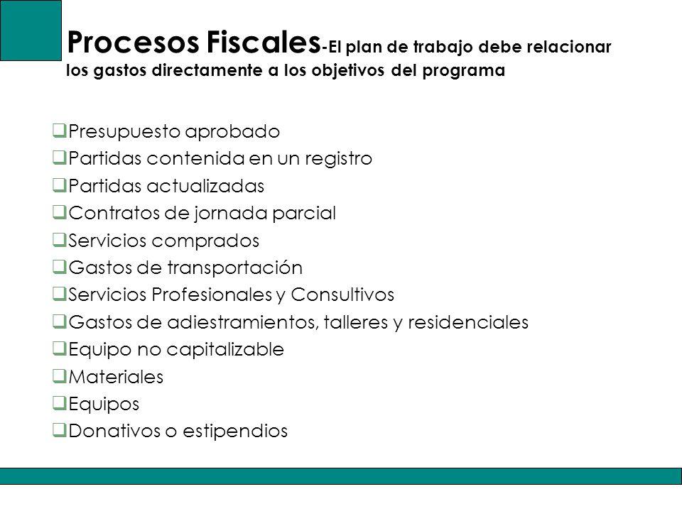 Procesos Fiscales-El plan de trabajo debe relacionar los gastos directamente a los objetivos del programa