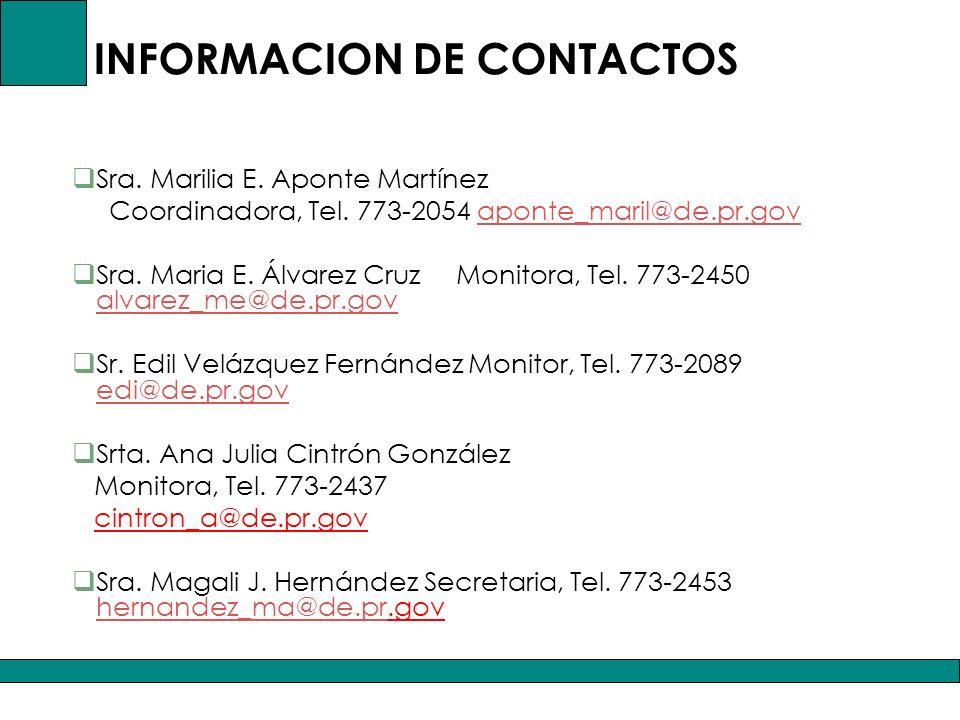 INFORMACION DE CONTACTOS