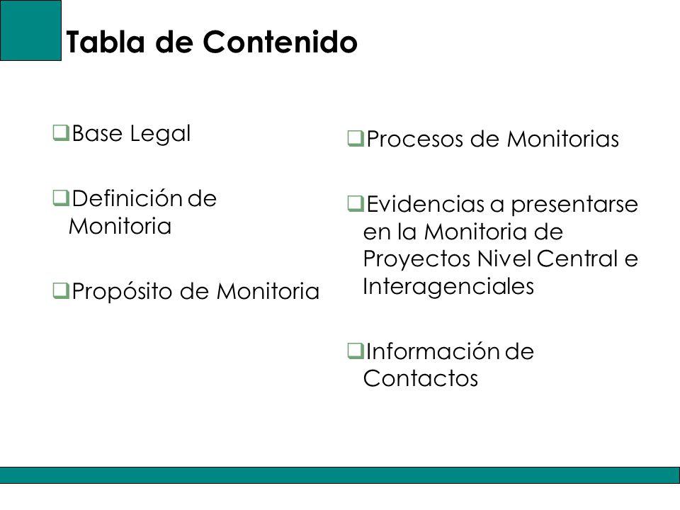 Tabla de Contenido Base Legal Procesos de Monitorias