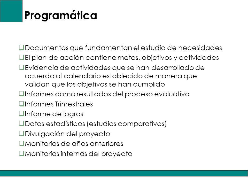 Programática Documentos que fundamentan el estudio de necesidades