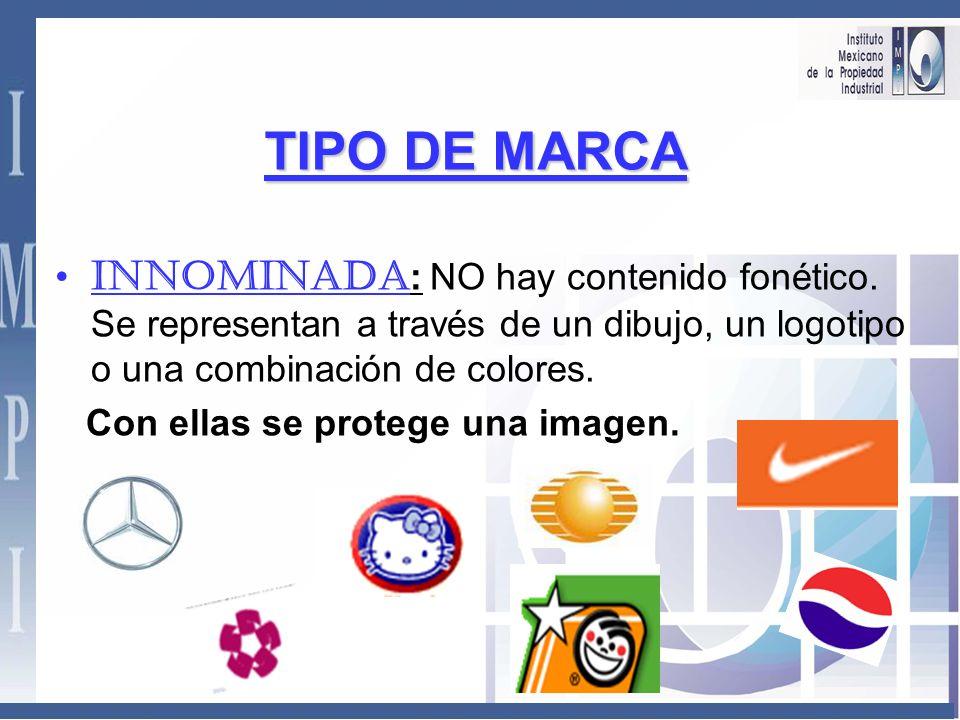 TIPO DE MARCA INNOMINADA: NO hay contenido fonético. Se representan a través de un dibujo, un logotipo o una combinación de colores.