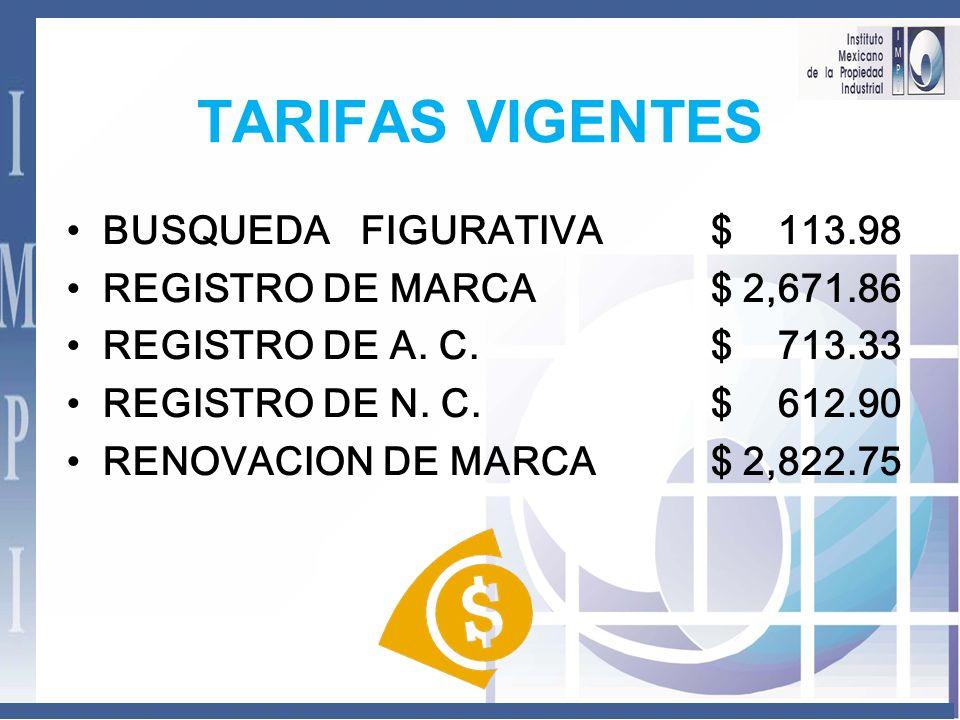TARIFAS VIGENTES BUSQUEDA FIGURATIVA $ 113.98