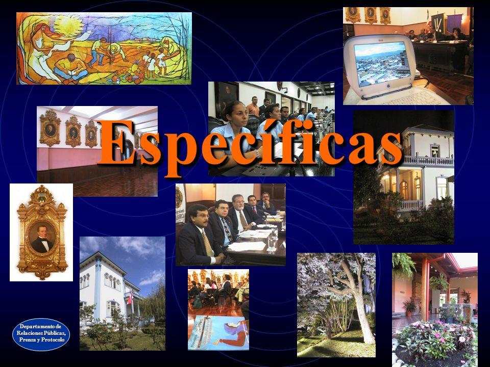 Específicas Departamento de Relaciones Públicas, Prensa y Protocolo