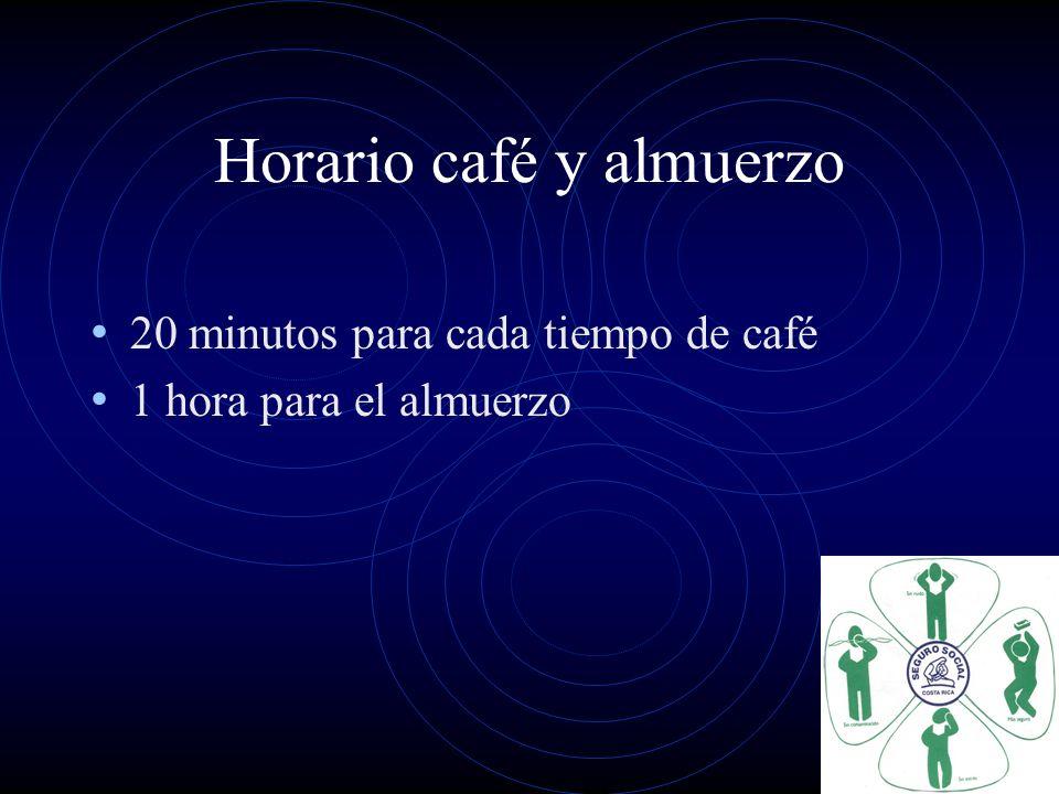 Horario café y almuerzo