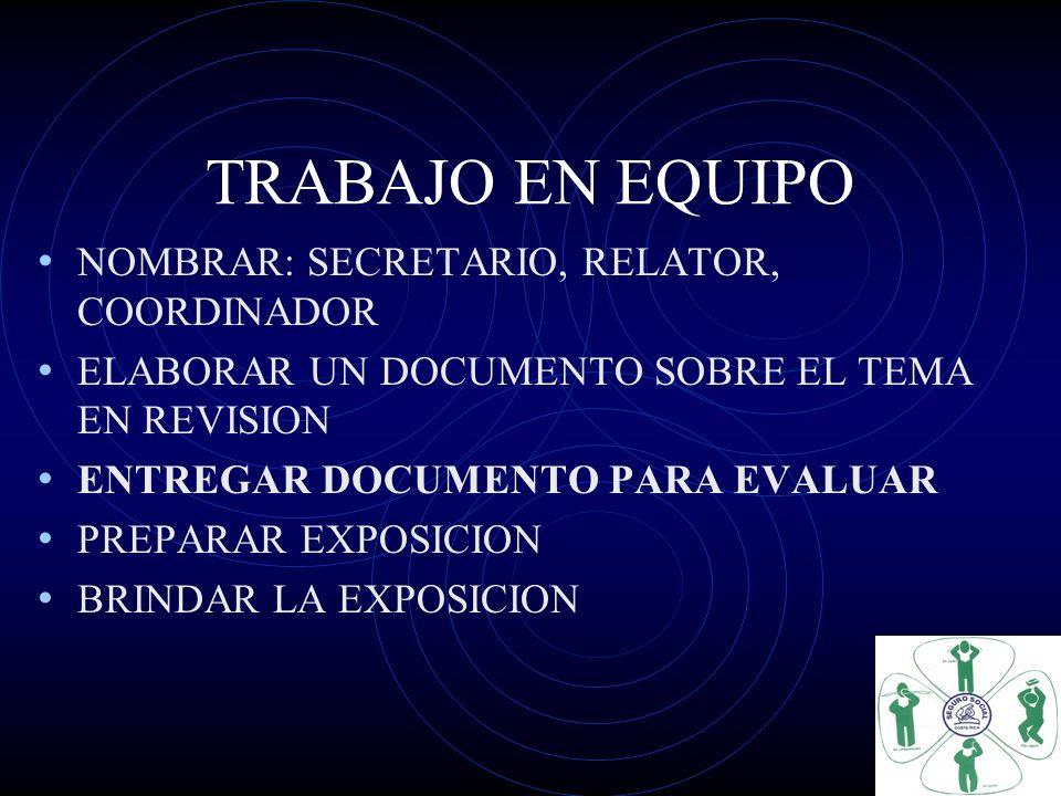 TRABAJO EN EQUIPO NOMBRAR: SECRETARIO, RELATOR, COORDINADOR