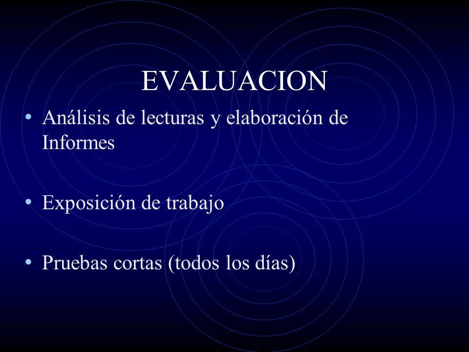EVALUACION Análisis de lecturas y elaboración de Informes