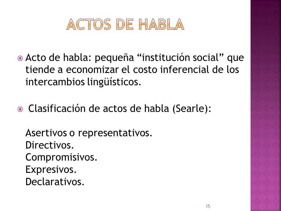 ACTOS DE HABLA Acto de habla: pequeña institución social que tiende a economizar el costo inferencial de los intercambios lingüísticos.