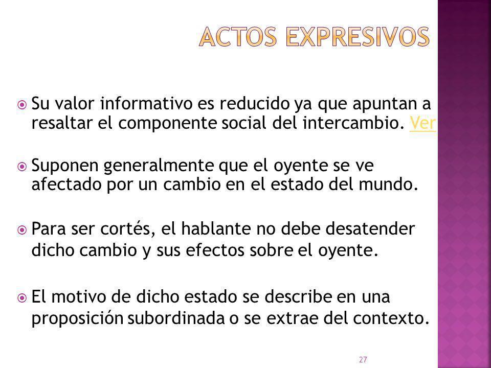 Actos expresivos Su valor informativo es reducido ya que apuntan a resaltar el componente social del intercambio. Ver.