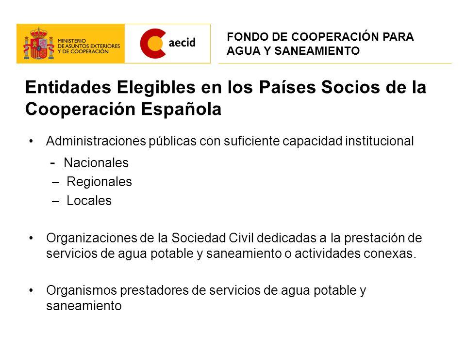 Entidades Elegibles en los Países Socios de la Cooperación Española