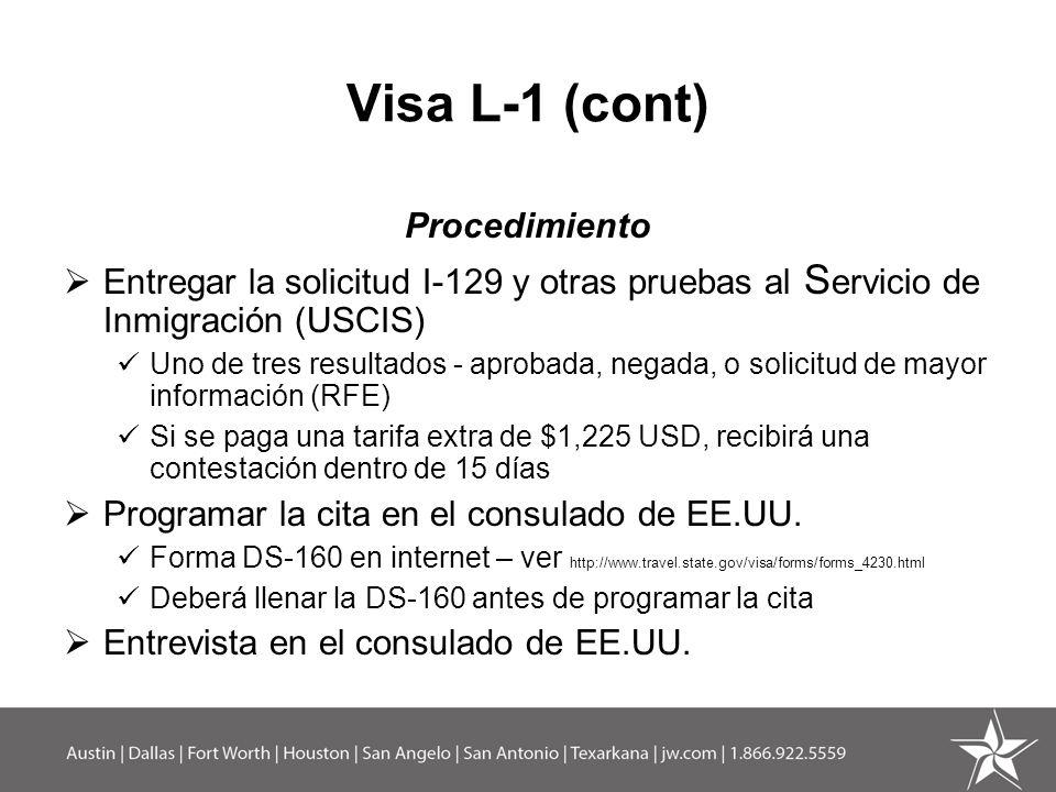 Visa L-1 (cont) Procedimiento