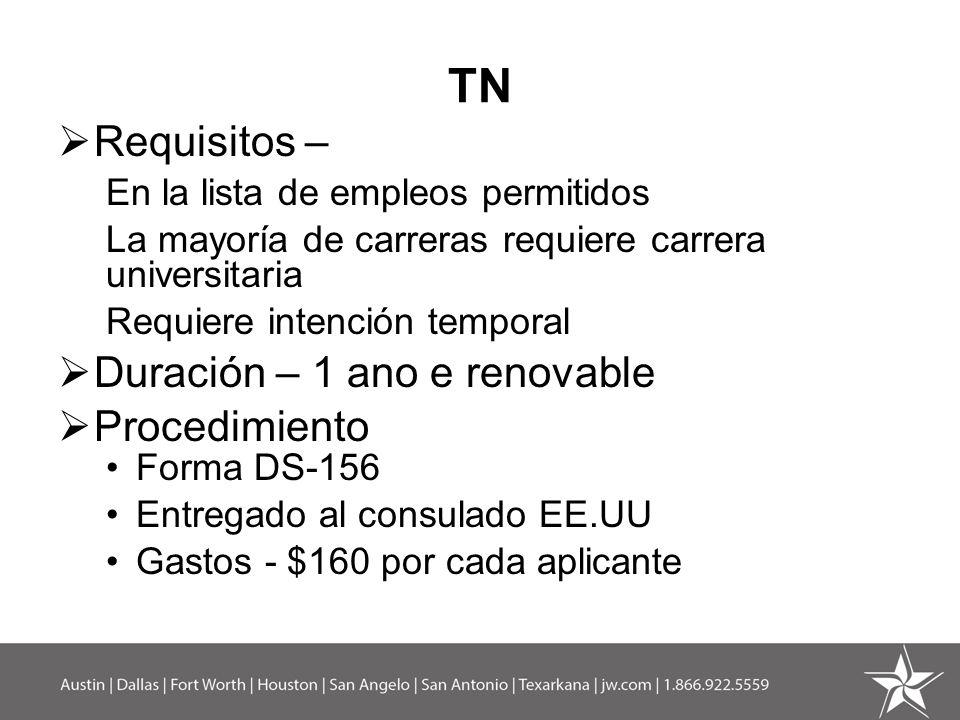 TN Requisitos – Duración – 1 ano e renovable Procedimiento