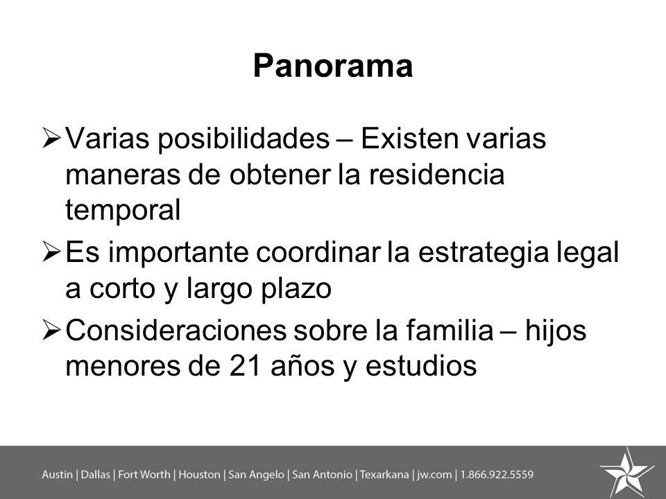 Panorama Varias posibilidades – Existen varias maneras de obtener la residencia temporal.