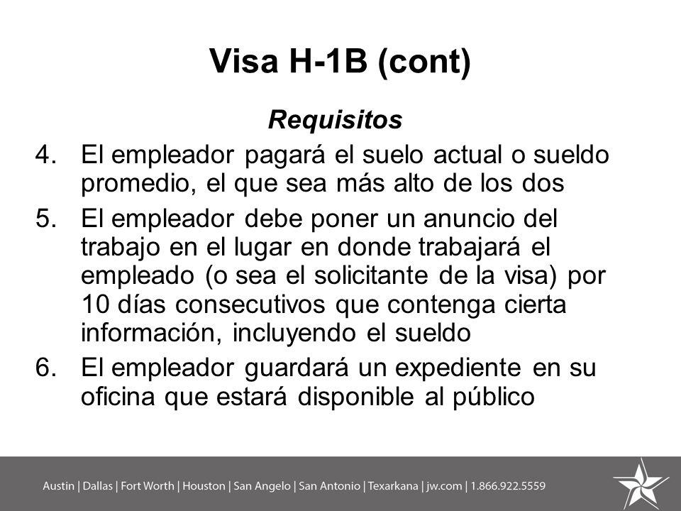 Visa H-1B (cont) Requisitos