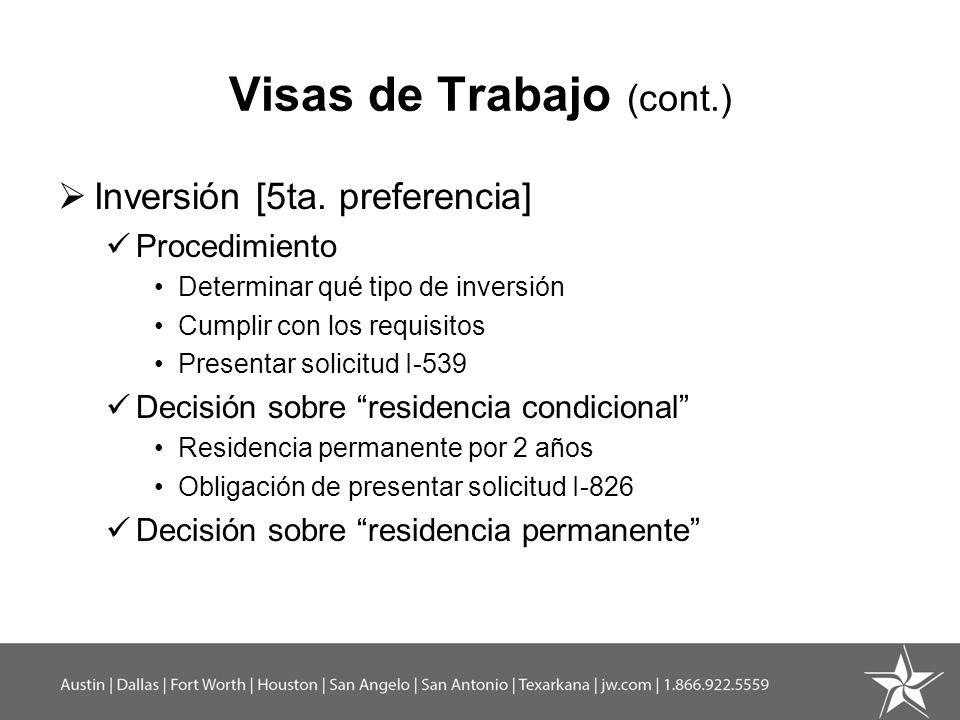 Visas de Trabajo (cont.)