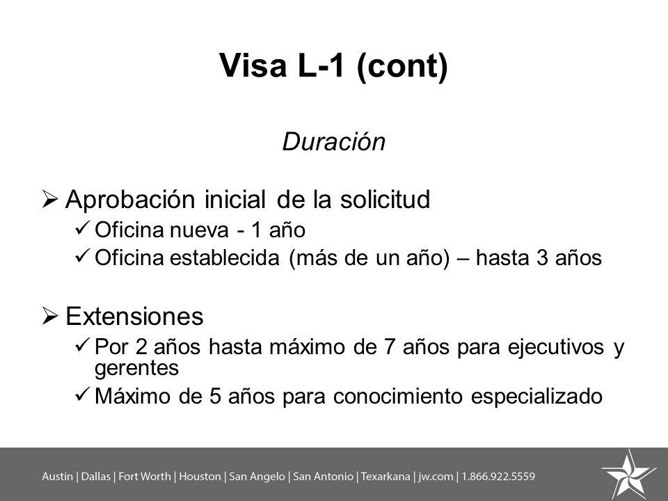 Visa L-1 (cont) Duración Aprobación inicial de la solicitud