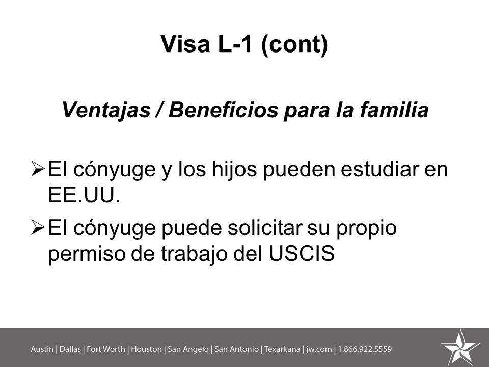 Ventajas / Beneficios para la familia