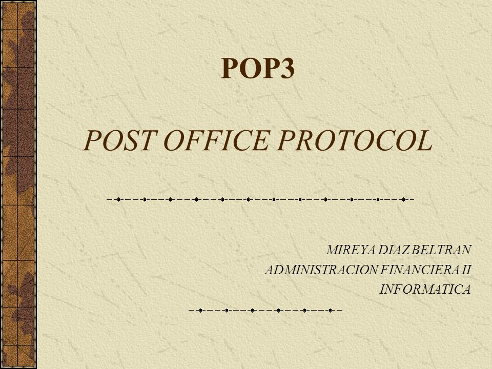 POP3 POST OFFICE PROTOCOL