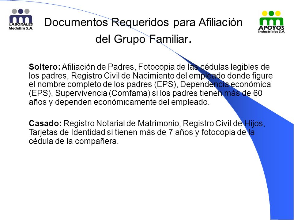 Documentos Requeridos para Afiliación del Grupo Familiar.