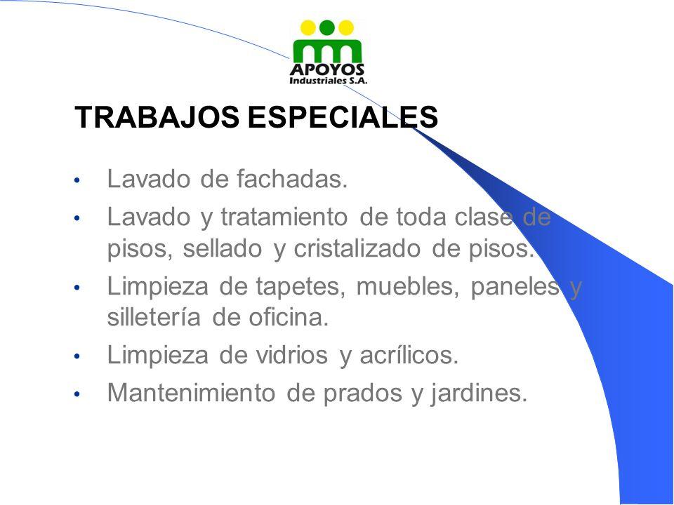 TRABAJOS ESPECIALES Lavado de fachadas.