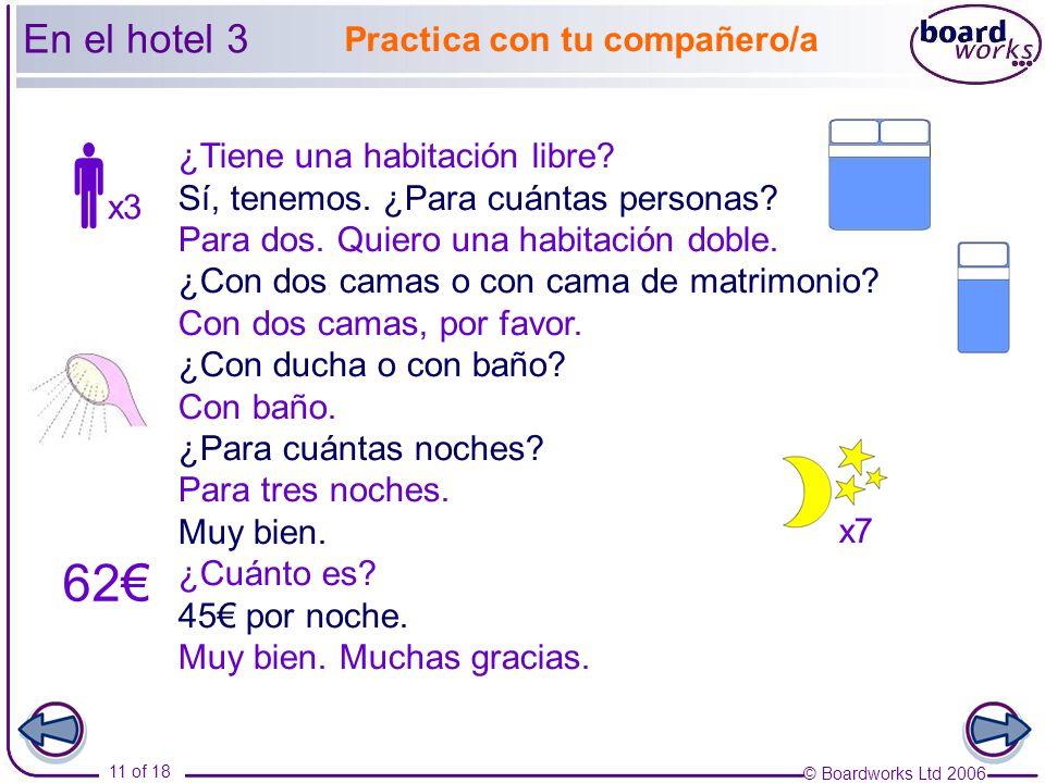  62€ En el hotel 3 Practica con tu compañero/a