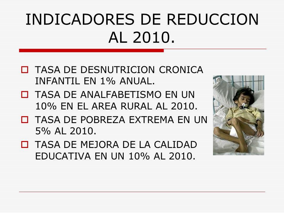 INDICADORES DE REDUCCION AL 2010.
