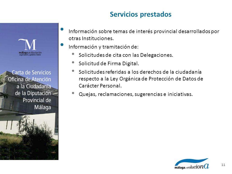 Servicios prestados Información sobre temas de interés provincial desarrollados por otras Instituciones.