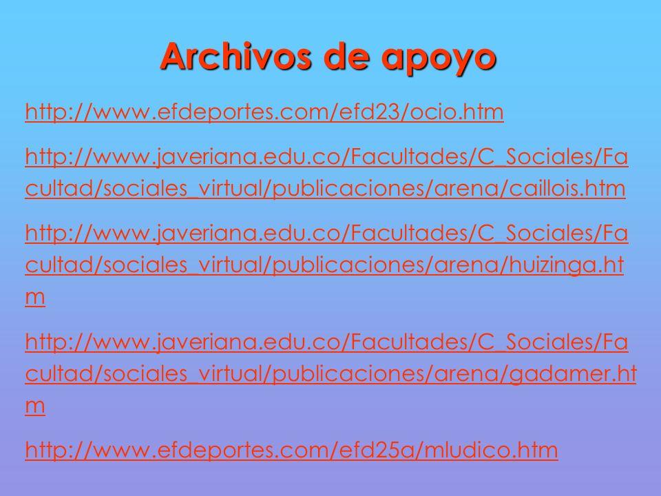Archivos de apoyo http://www.efdeportes.com/efd23/ocio.htm