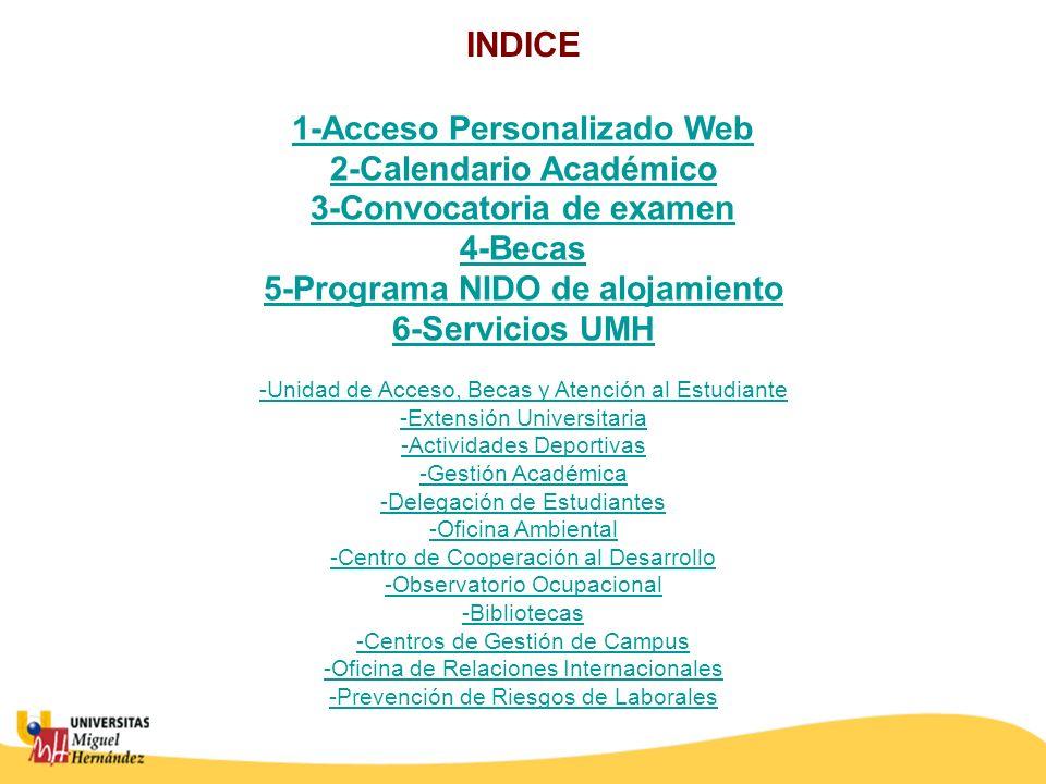 INDICE 1-Acceso Personalizado Web 2-Calendario Académico