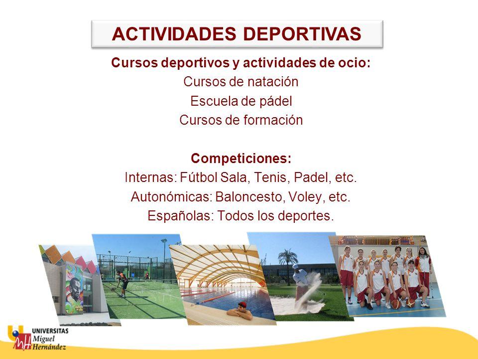 ACTIVIDADES DEPORTIVAS Cursos deportivos y actividades de ocio: