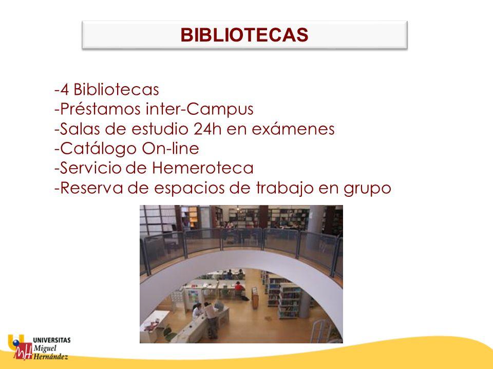 BIBLIOTECAS -Préstamos inter-Campus -Salas de estudio 24h en exámenes